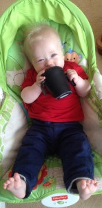 lucas drinking from his pengion haberman anywayup cup