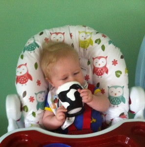 Lucas sat in a highchair drinking from the cow patterned haberman anywayup cup