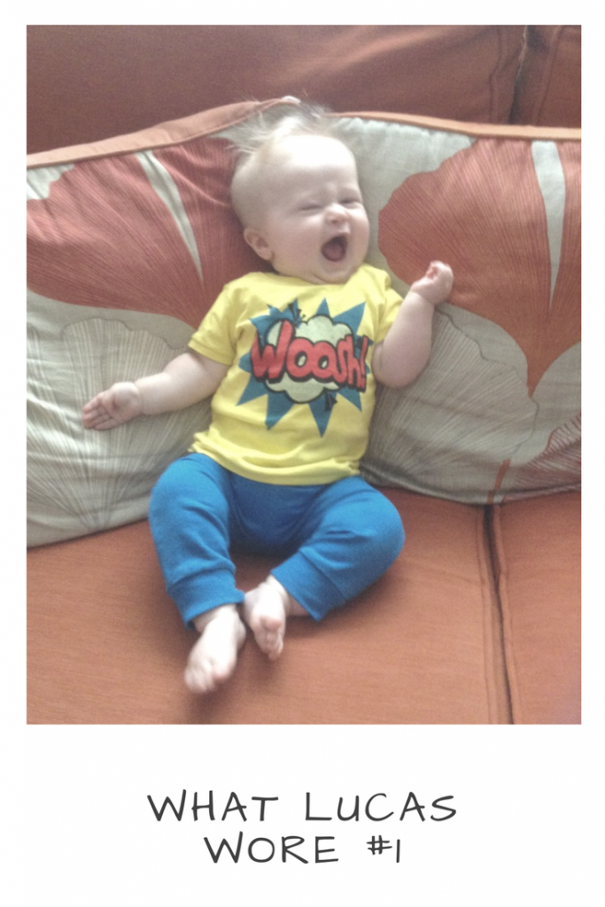 Baby and toddler fashion, bright blue jogging pants and yellow woosh tshirt from Next clothing
