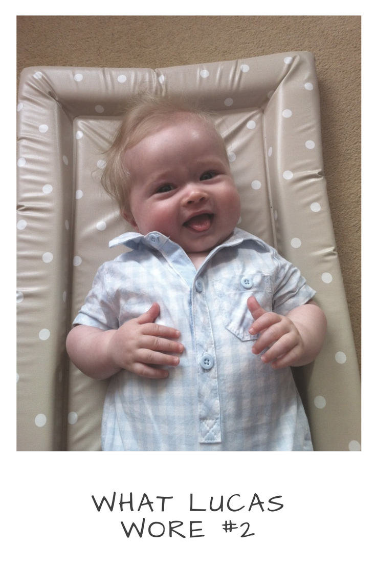 baby fashion, a blue and white cotton checked romper suit
