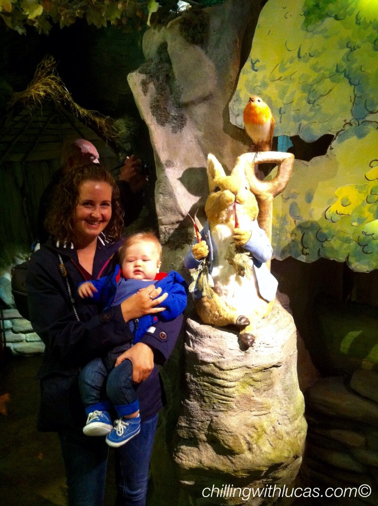 lucas and i at beatrix potter world next to peter rabbit