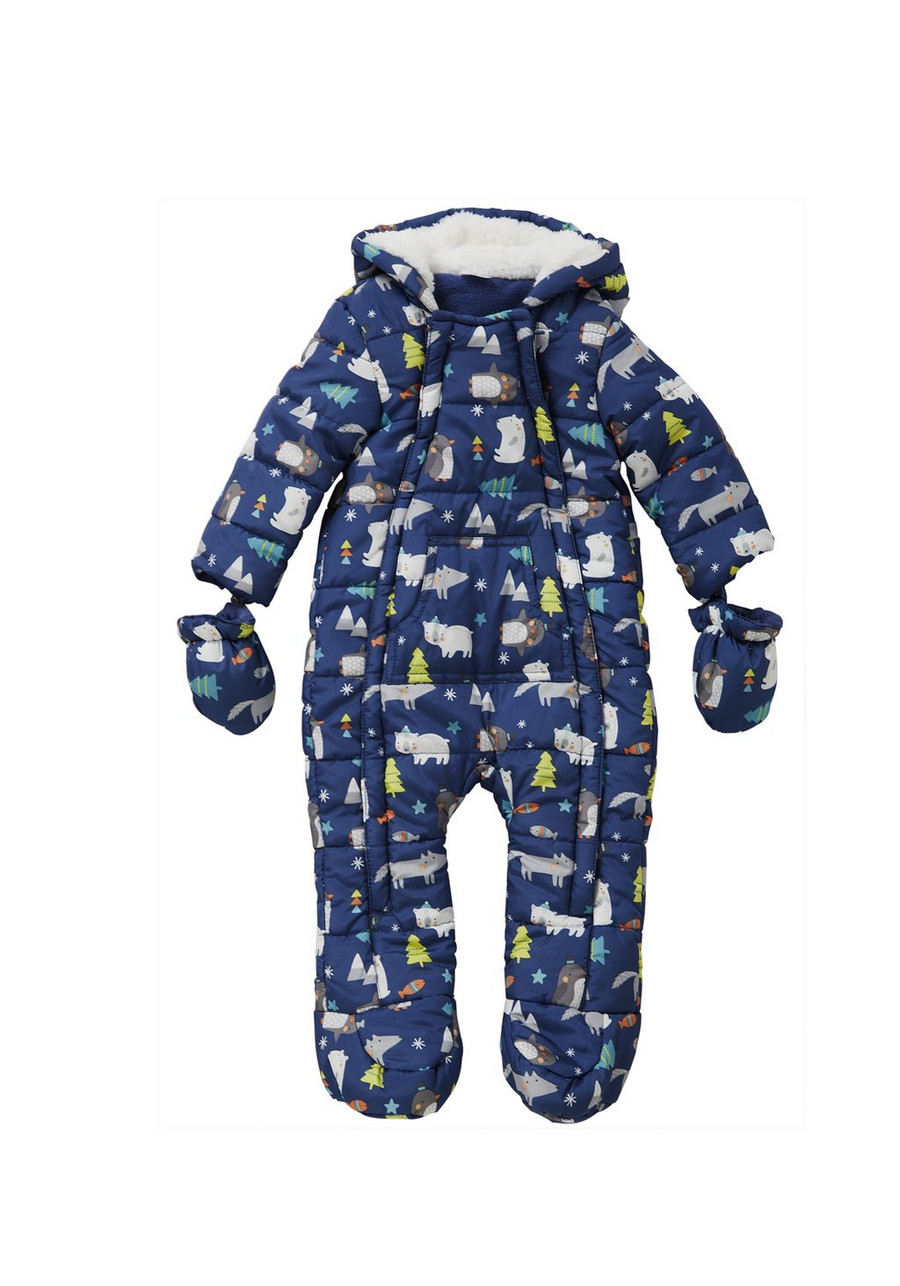 navy blue print baby snow suit