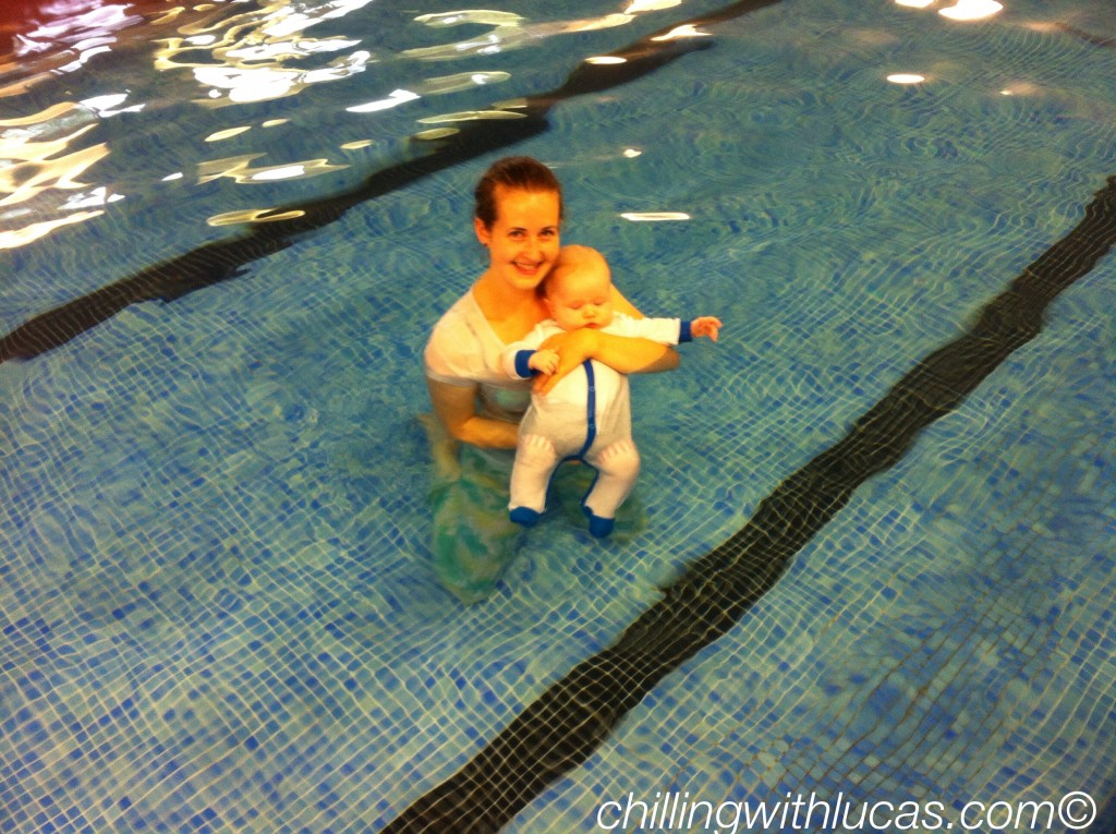Lucas and I in the pool wearing pjs. Puddleducks, pwsa, rnli
