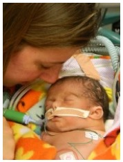 Aimee with her baby that has congenital heart defects