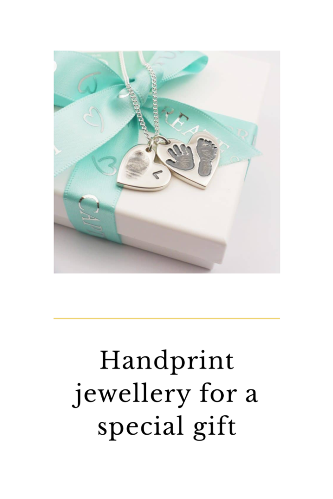 Bella and bow handprint and fingerprint jewellery