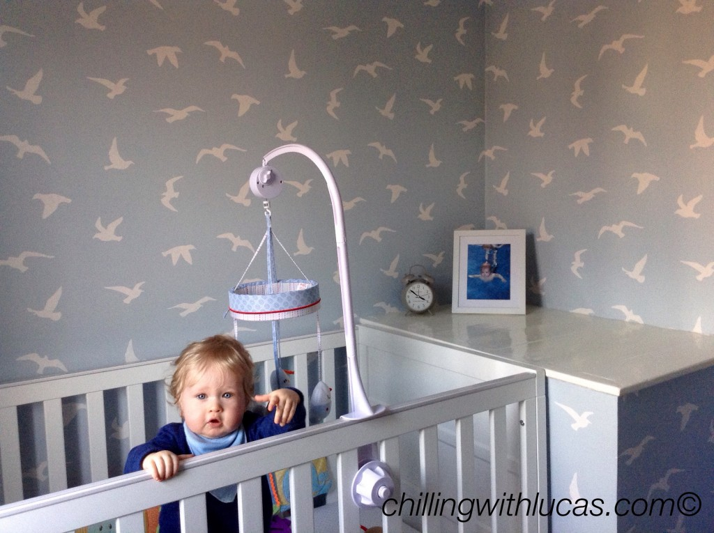 Boy nursery idea Lucas in his cot with a blue and whote bird wallpaper in the background