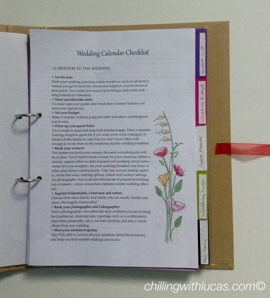 inside the Wedding planner file showing a printed checklist