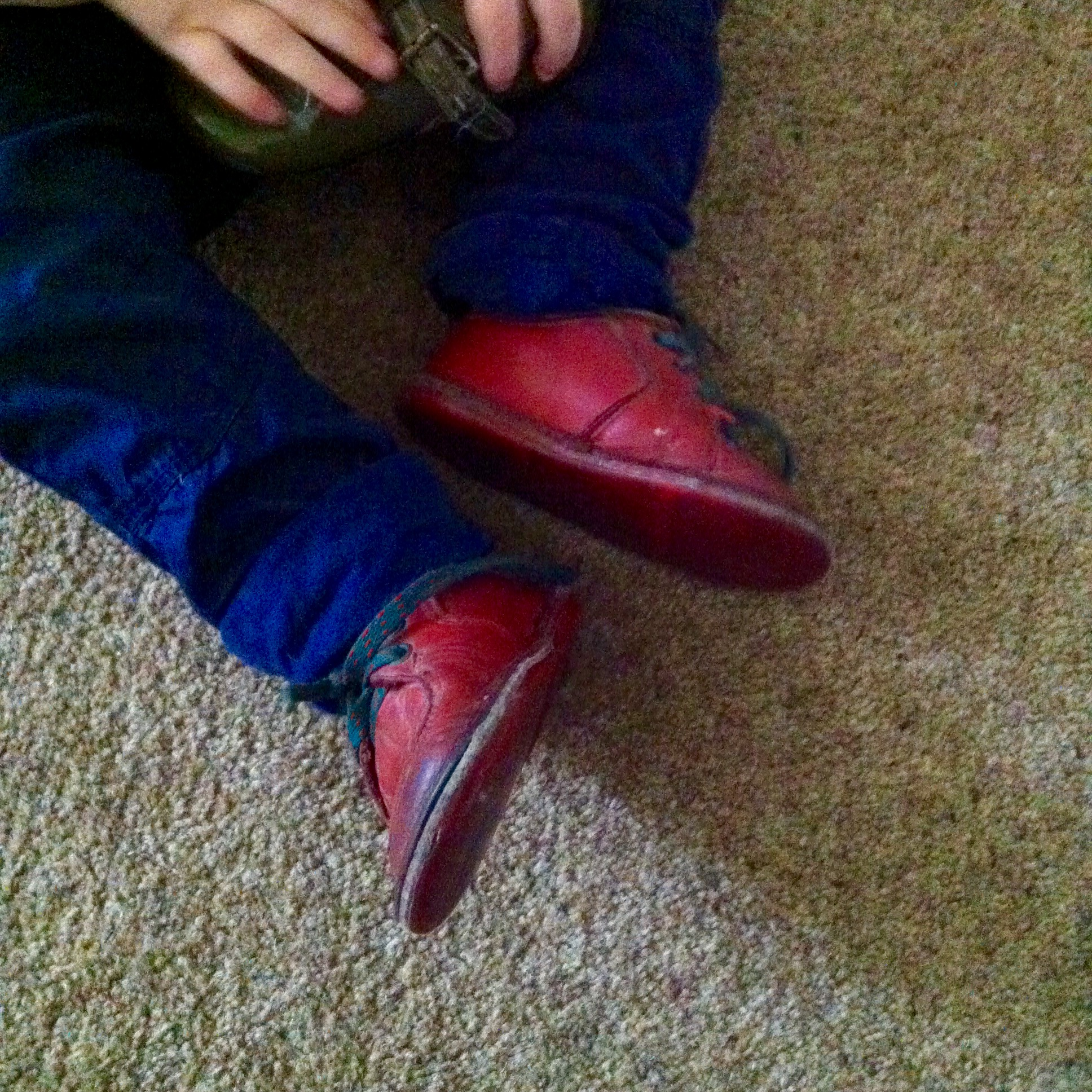 Vintage shoes, 28 year old red leather first walking shoes from clarks