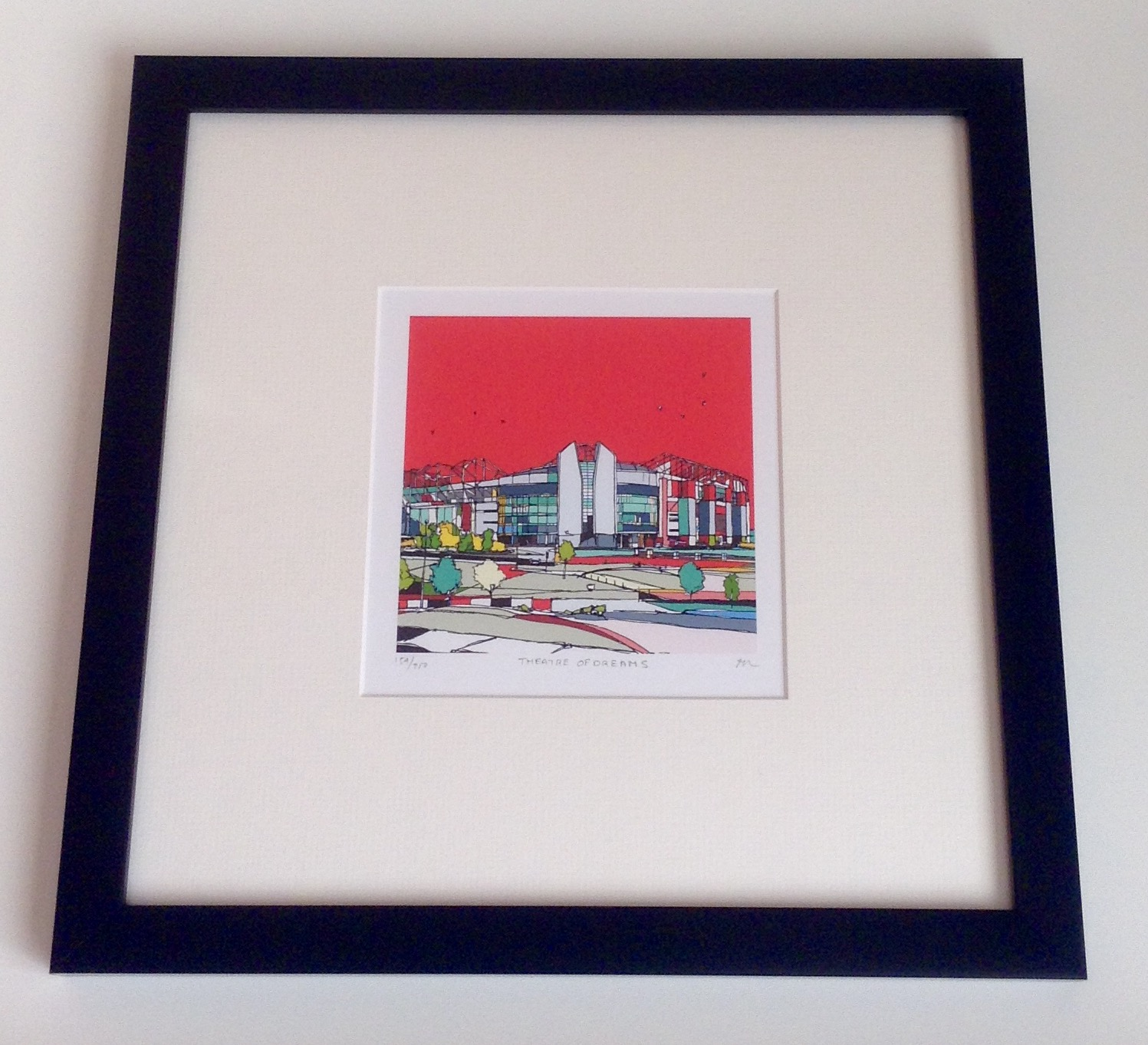 Urban colours art review. Picture of the stadium of dreams. Striking bold colours and lines