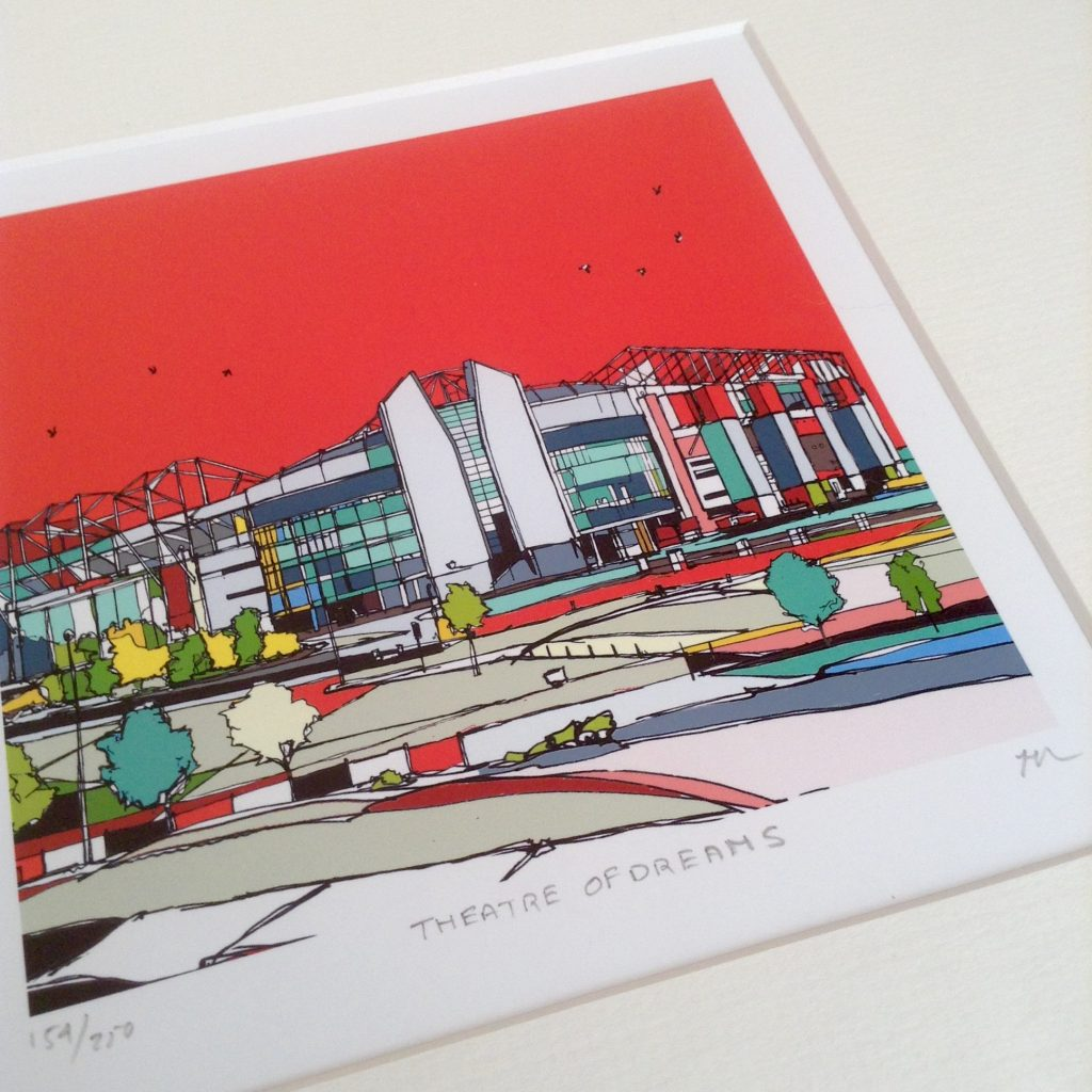 Urban colours art review. A hand drawn picture of the stadium of dreams, Manchester United. A bold red sky with striking blacks lines outlining the stadium with blocks of white, yellow and blue to infill the stadium
