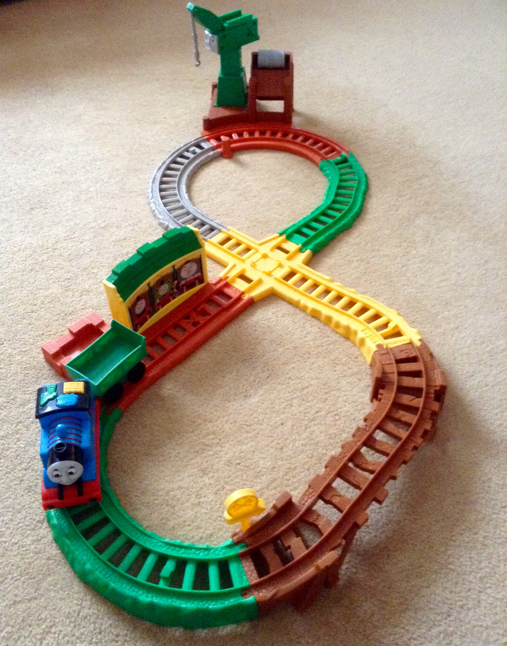 Thomas & Friends My First All Around Sodor. The full figure eight track with Thomas at Tidmouth sheds and cranky in the distance at the docks