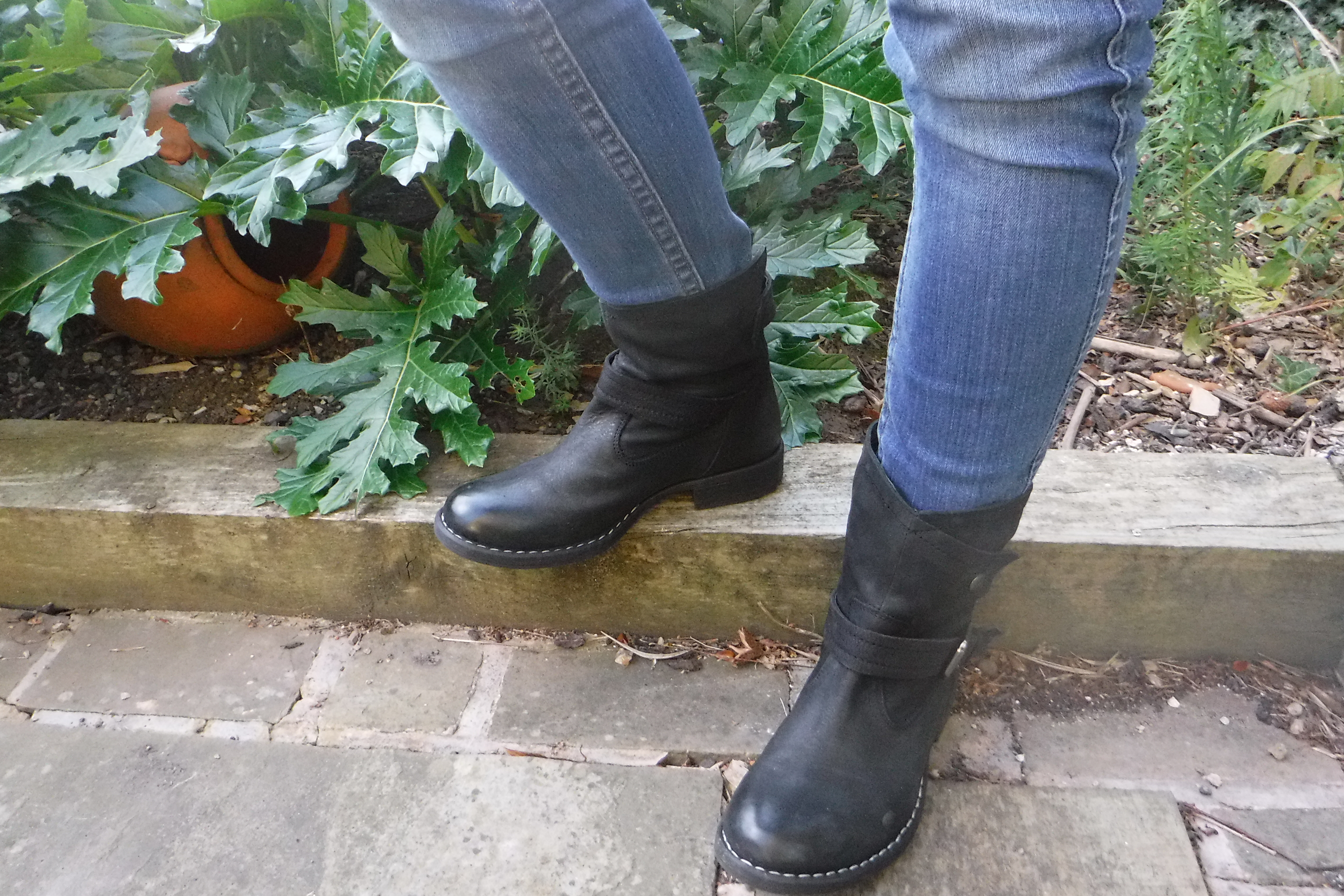 Lotus Lilian Ankle Boots Review. black leather boots with military strap detailing and white stitching