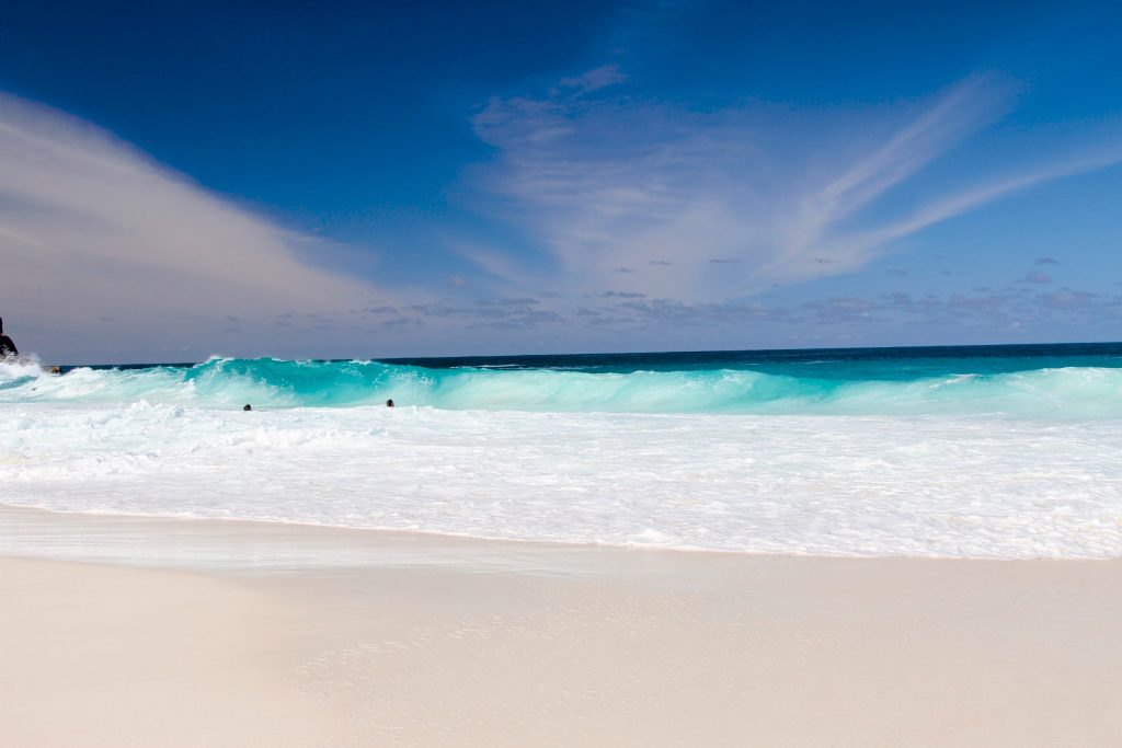 Top place to visit. The seychelles. Serene White sandy beach with blue sea