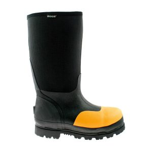 christmas gift ideas, bogs footwear, yellow and black steel toe wellington boots