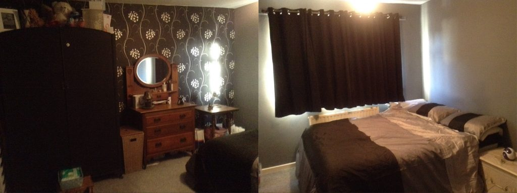 bedroom makeover, black and grey bedroom
