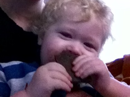 Supertreats review grainy photo of lucas eating chocolate bar