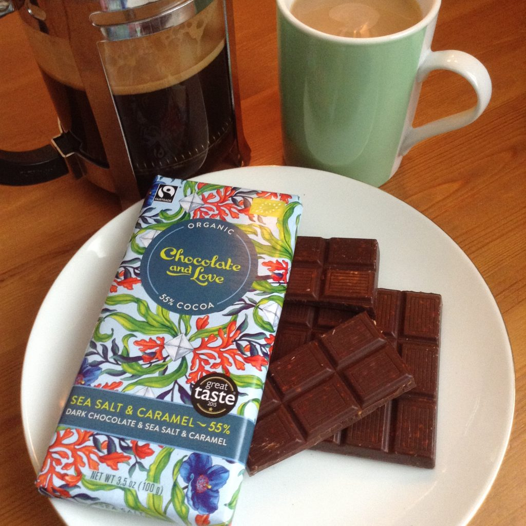 Happy days chocolate and love sea salt and caramel chocolate, grumpy mule coffee, fairtrade fortnight
