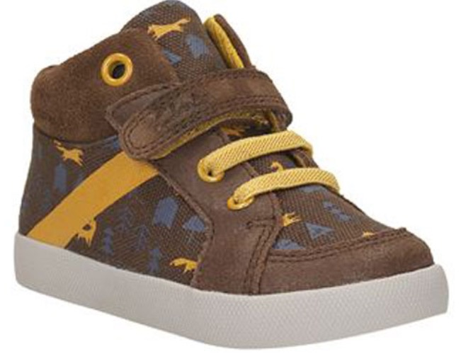 Clarks toddler brown and blue patterned boots