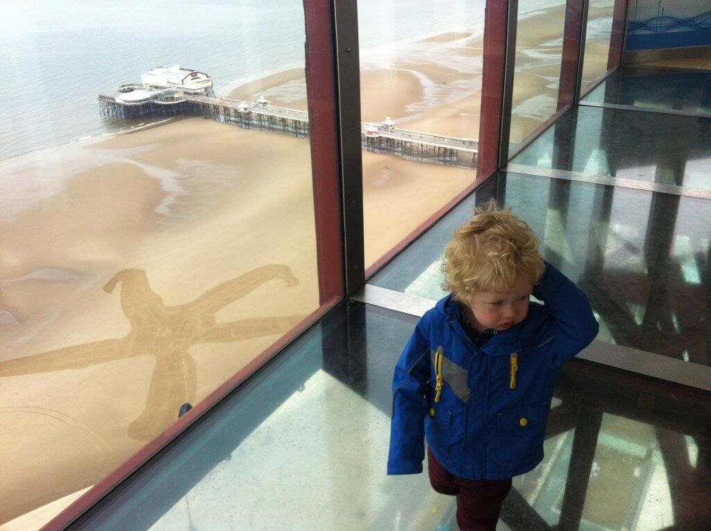 Blackpool tower glass floor and star fish sand drawing