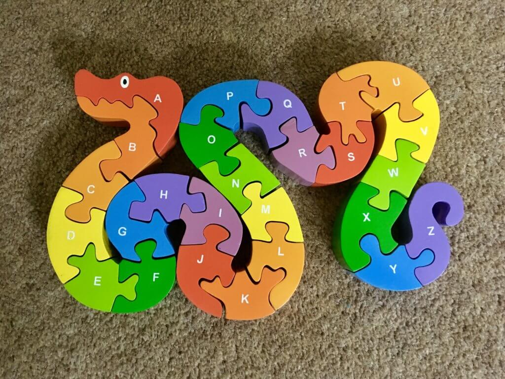 Wooden toys brightly coloured alphabet snake puzzle sri toys