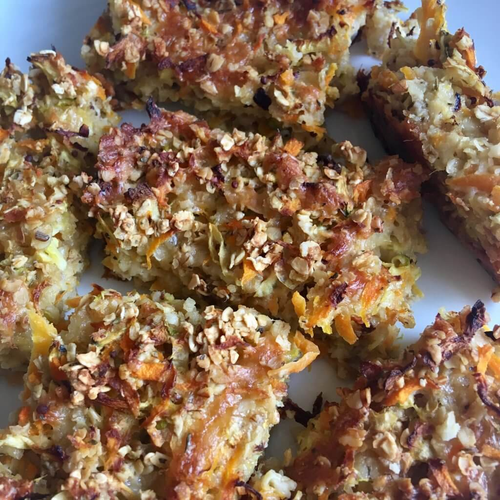 Savoury flapjack recipe a plate of cooked savoury flapjacks