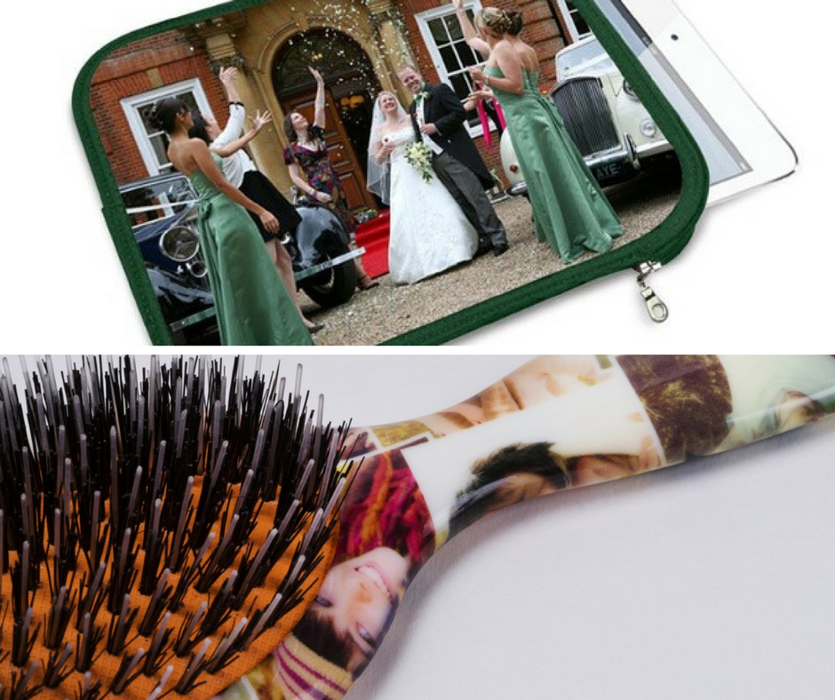 Valentines gift ideas a photo grid of 2 photos, an ipad slip case with a wedding photo on it and a brush underneath with a collage of photos on