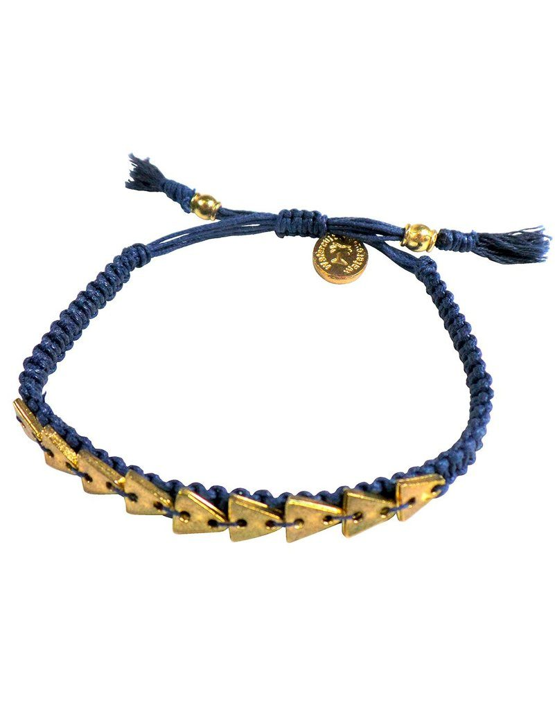 Winter sun style a blue corded bracelet with gold triangles over the top