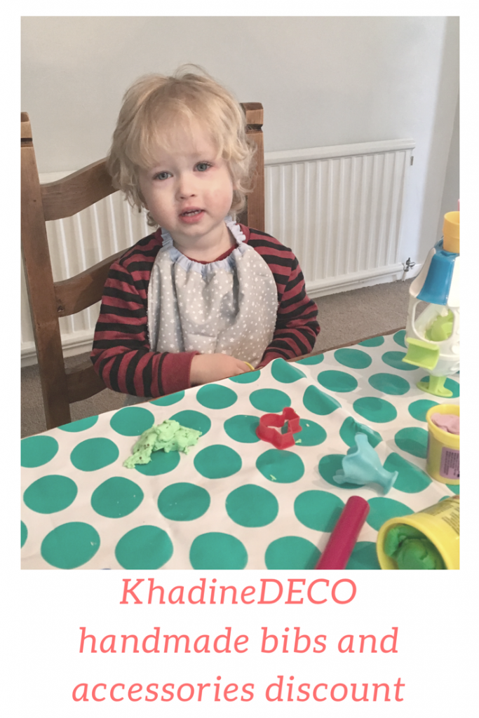 KhadineDECO handmakr bibs from weaning stage to adult size. She also has a variety of baby and Home ware accessories. Discount code