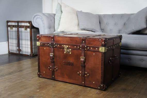 Bedroom storage a vintage brown trunk
