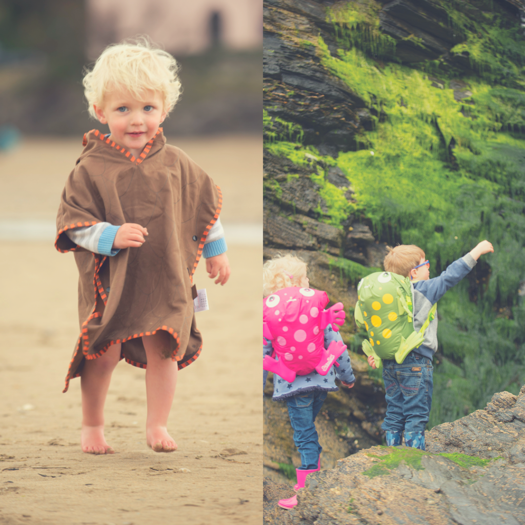 LittleLife giveaway a photo of a blonde boy running on a beach wearing a brown poncho towel and 2 children pointing and looking up at a rainforest with swim bags on their backs