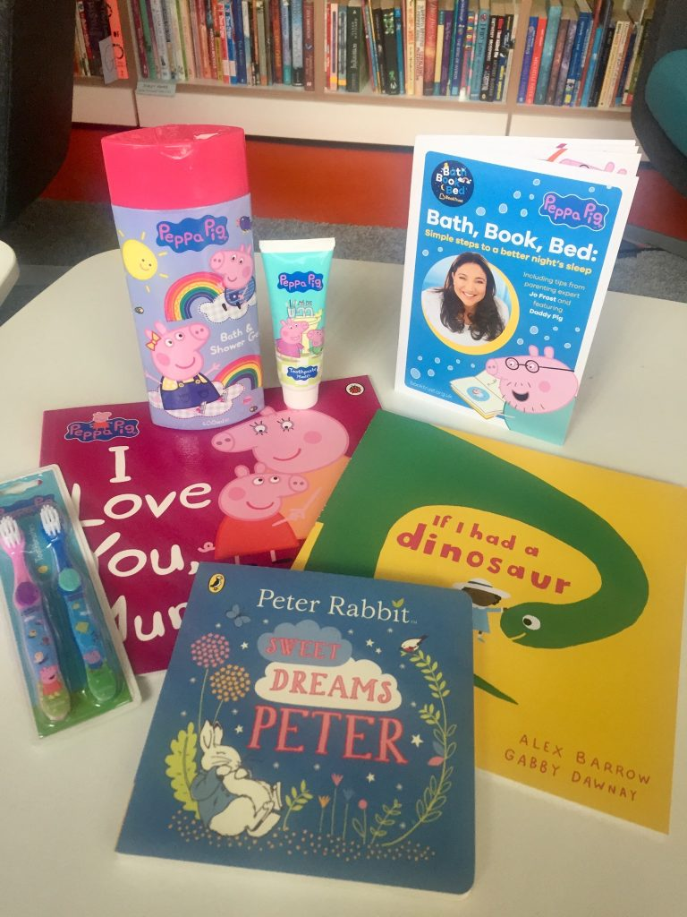 Bath, Book, Bed (and maybe a little creativity) The giveaway bundle including books, toothbrush, toothpaste abubble bath