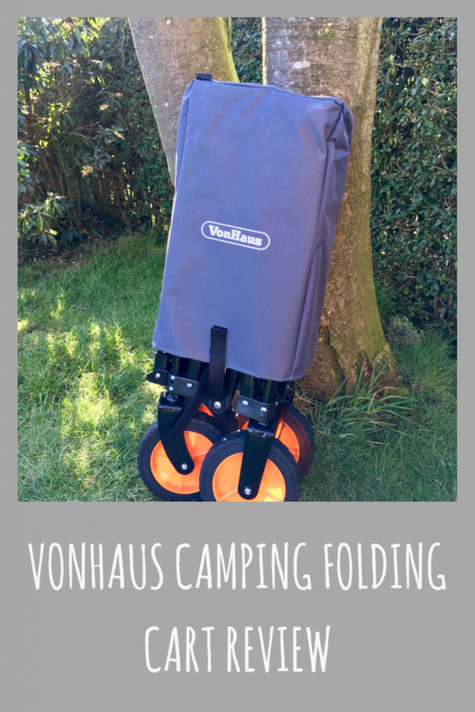 VonHaus camping folding cart. Carry all your camping, festival or picnic gear to your destination with this clever fold-out cart Made from a sturdy steel frame with a durable PVC fabric liner, it's no compromise on non-folding models No assembly required. Simply pull the cart open and push it closed Lightweight at only 11kg for easy transport
