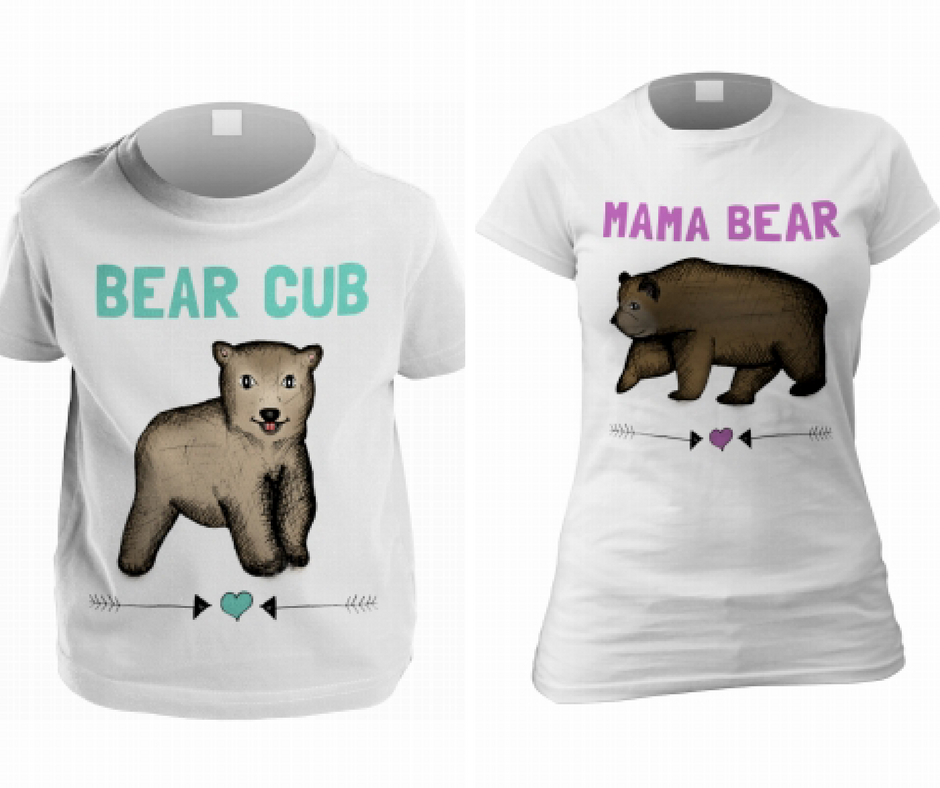 Mama Bear and Bear Cub t-shirts. A close up shot of each of the tshirts from Funky Pigeon website with plain white backgrounds