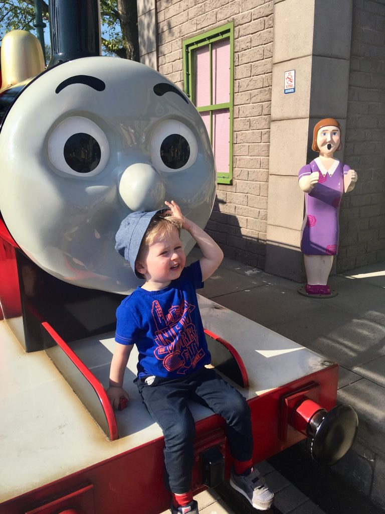 Drayton Manor theme park review Lucas sat on the front of James train looking at camera
