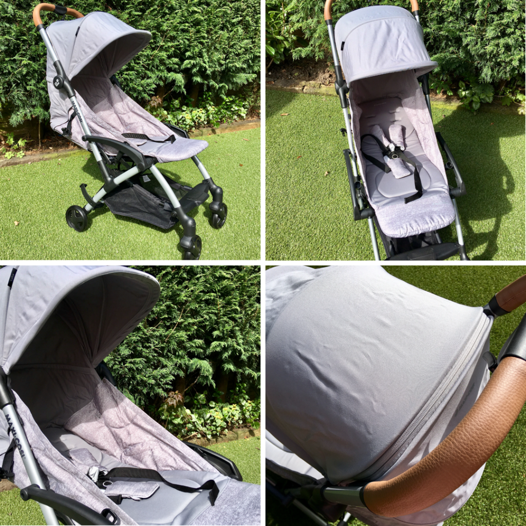 Maxi-Cosi Laika review a collage of 4 photos of the grey pram on green grass with green bushes behind it