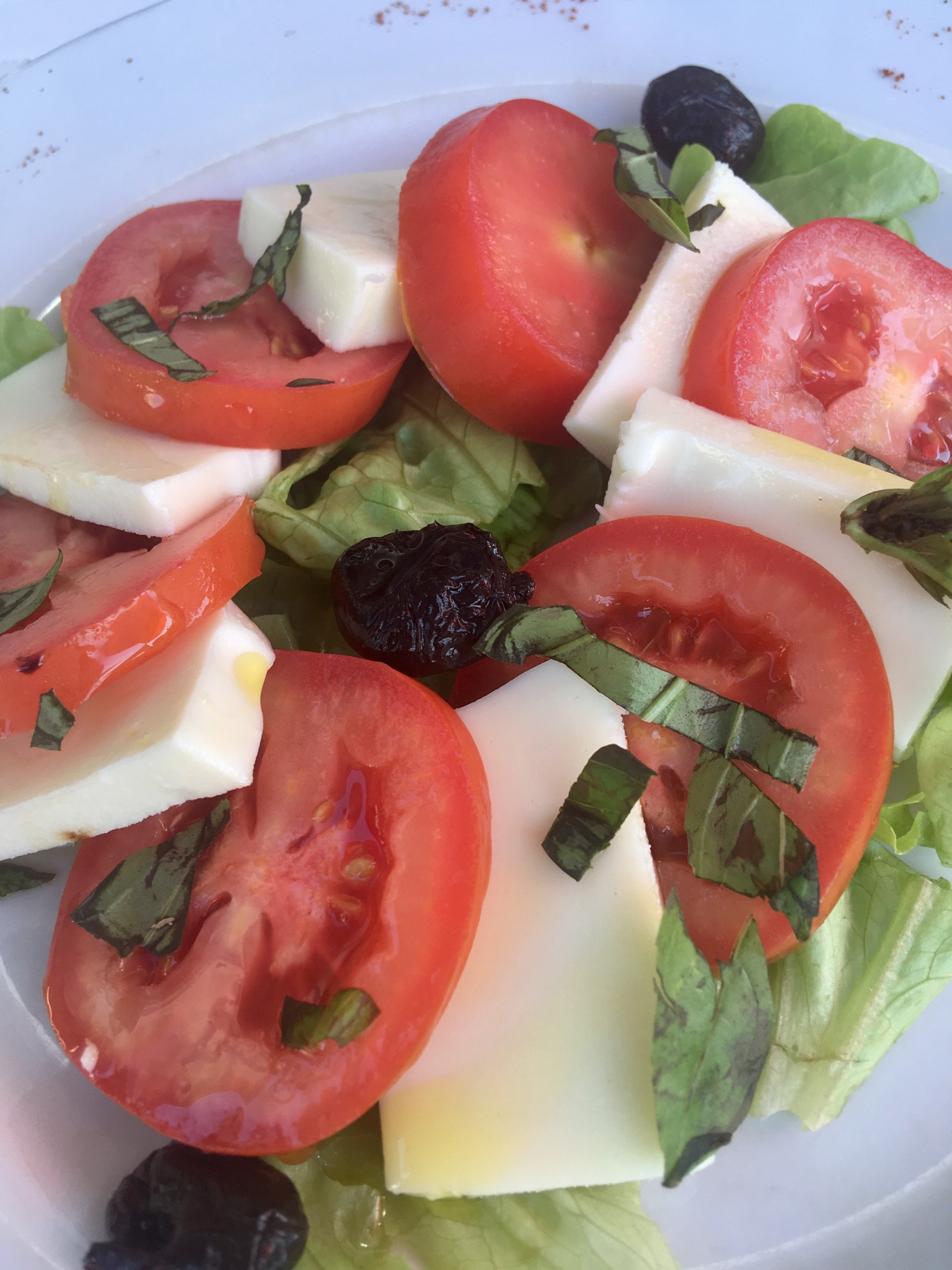 L'Auberge De Jaure review a tomato, cheese and olive salad