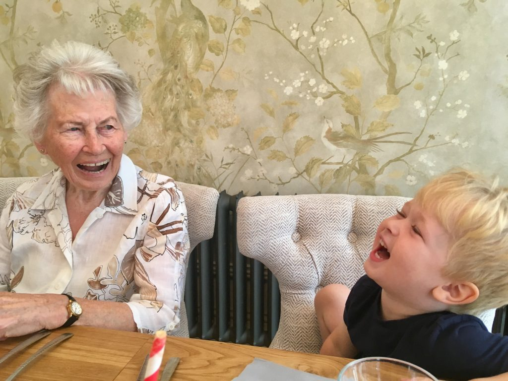 The Brasserie, Lancaster review. My Grandma and Lucas are sat at the table looking at each other laughing