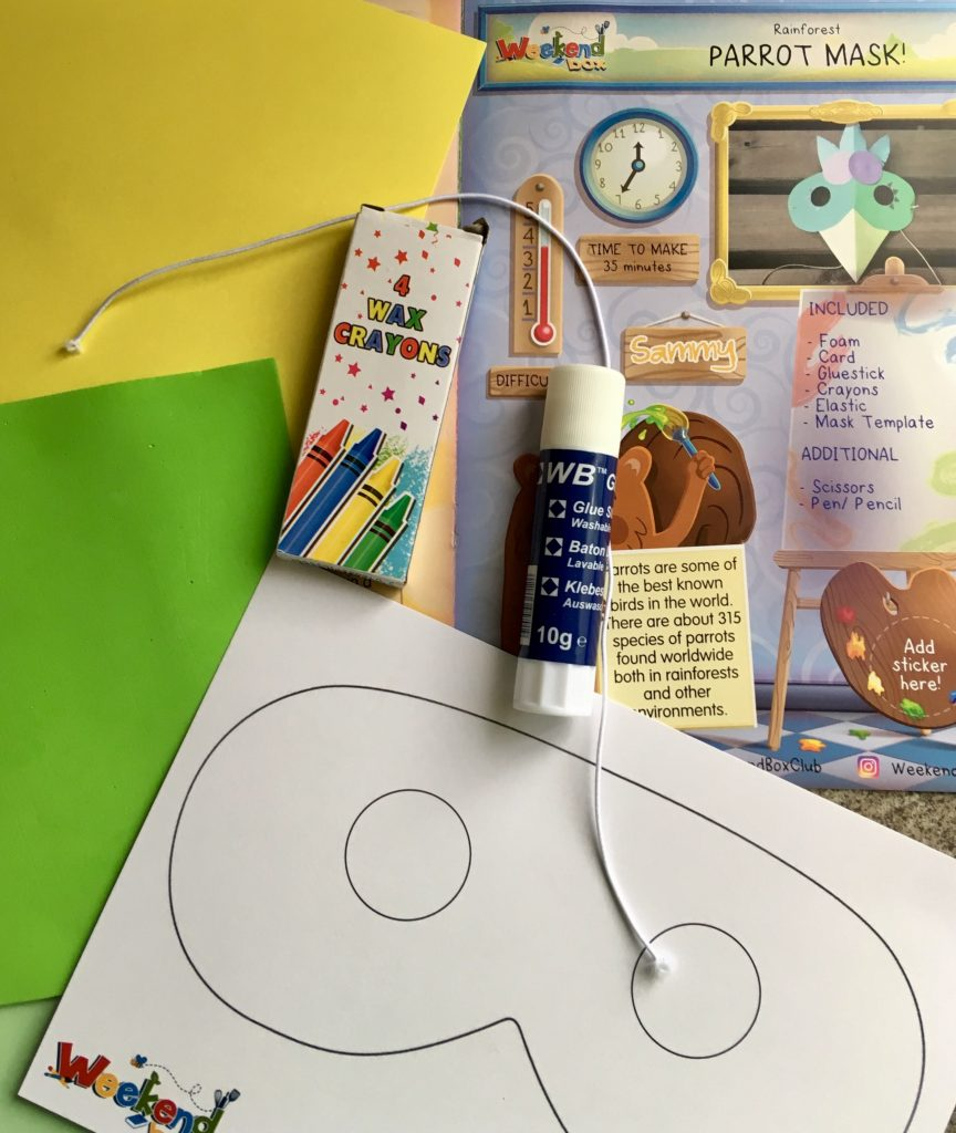 Children's subscription box for only £1. Coloured paper, glue stick, string, the mask template to make the parrot mask