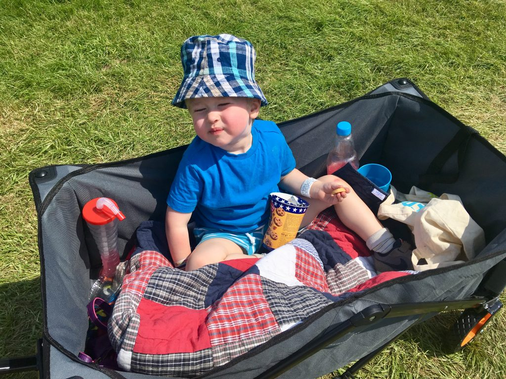 Geronimo Festival 2018 review Lucas sat in the camping cart with biscuits and a drink