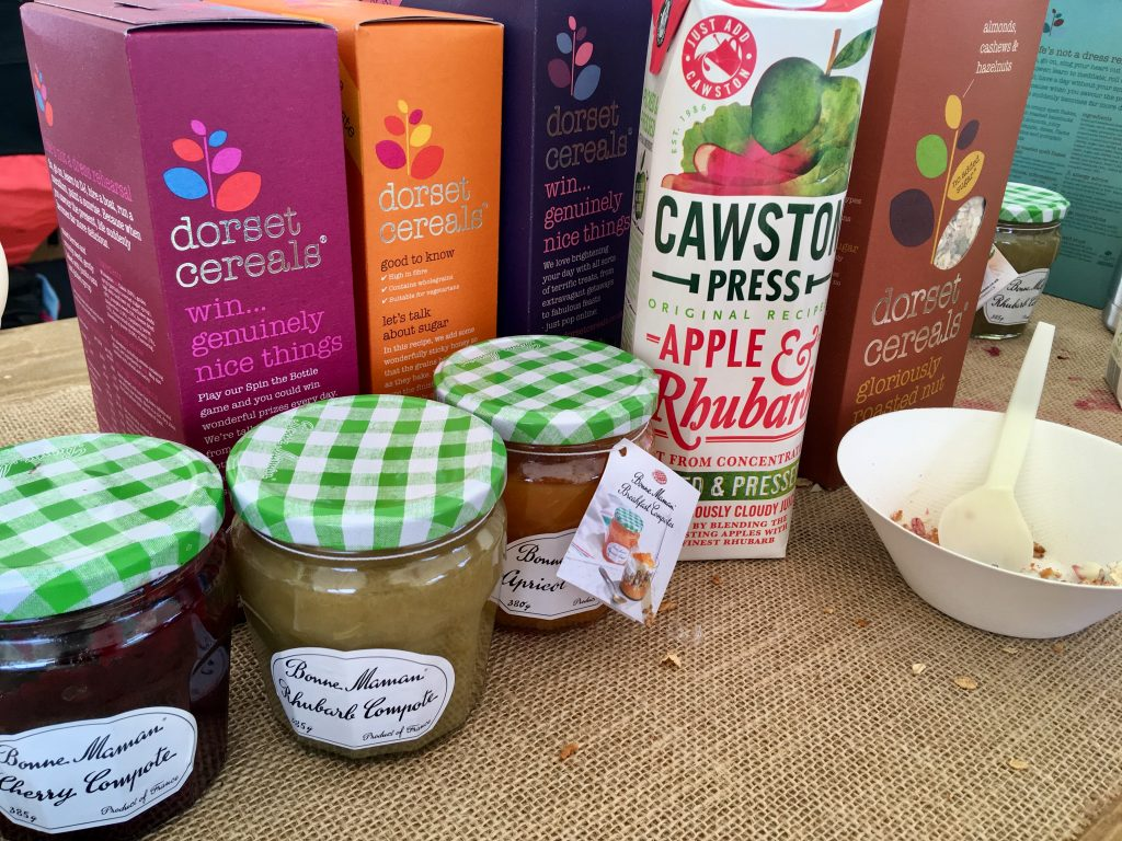 Geronimo Festival 2018 review Boxes of Dorset cereal, jams and juice