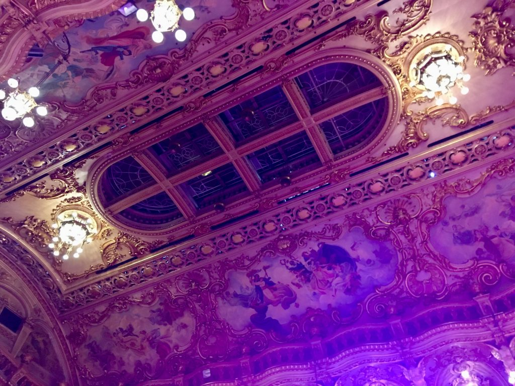 Blackpool tower ballroom ceiling, large chandeliers, gold and intricate painting