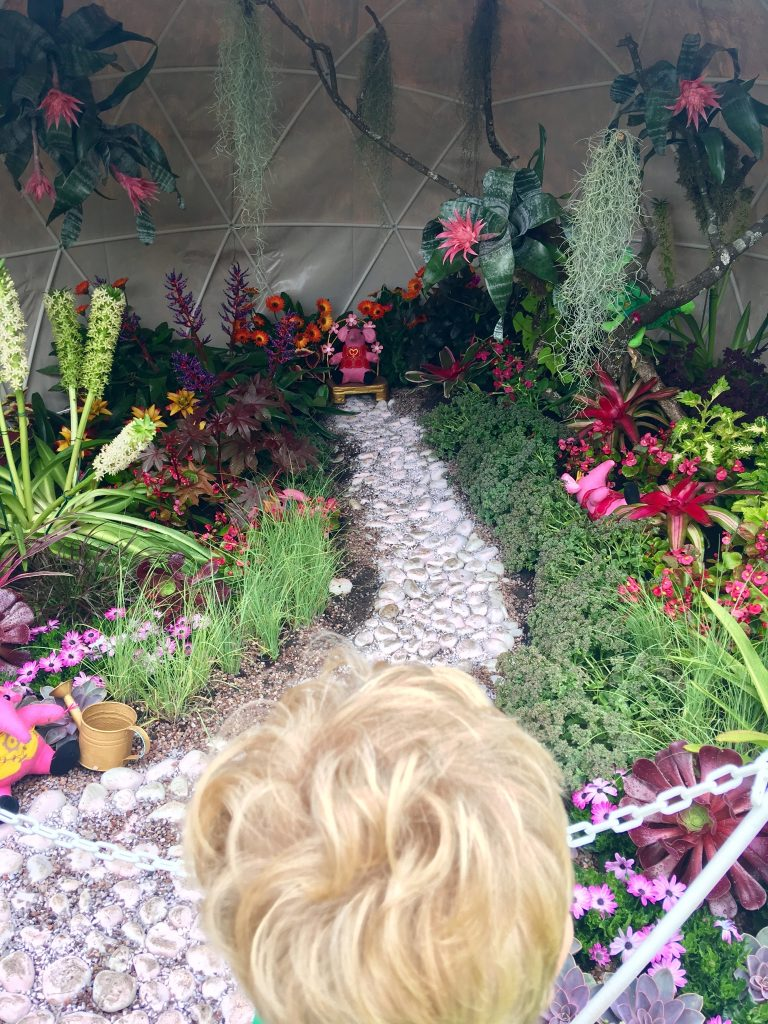 CBBC Summer Social review The top of Lucas blonde hair then you can see into the callers garden dome with big clanger sat on a throne at the end of the pebble path and plants around