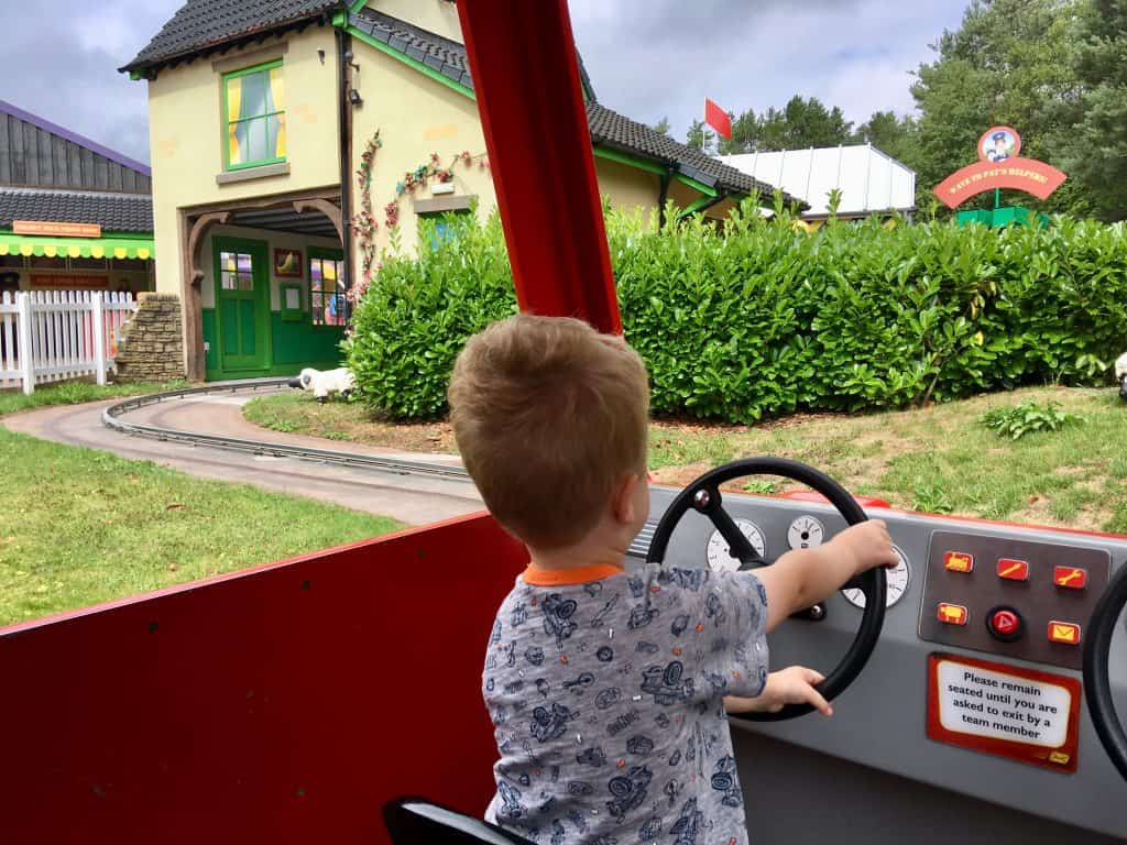 CBeebies Land, Alton Towers review. Lucas driving postman pats van