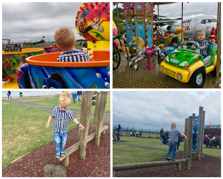 Manchester Runway Visitor Park review A collage of photos of Lucas on playground and fair ground rides