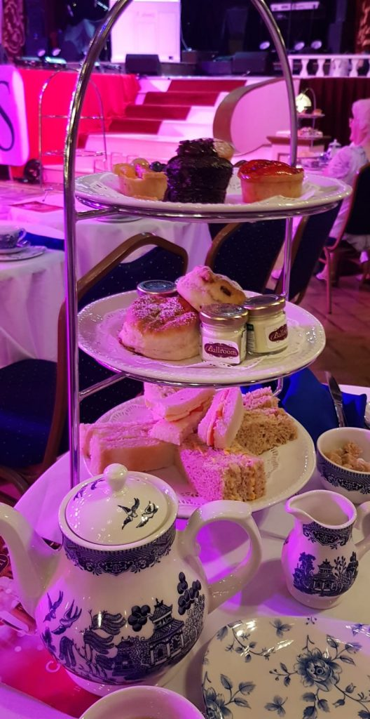 Afternoon Tea in Blackpool Tower Ballroom The stand full of sandwiches and cakes