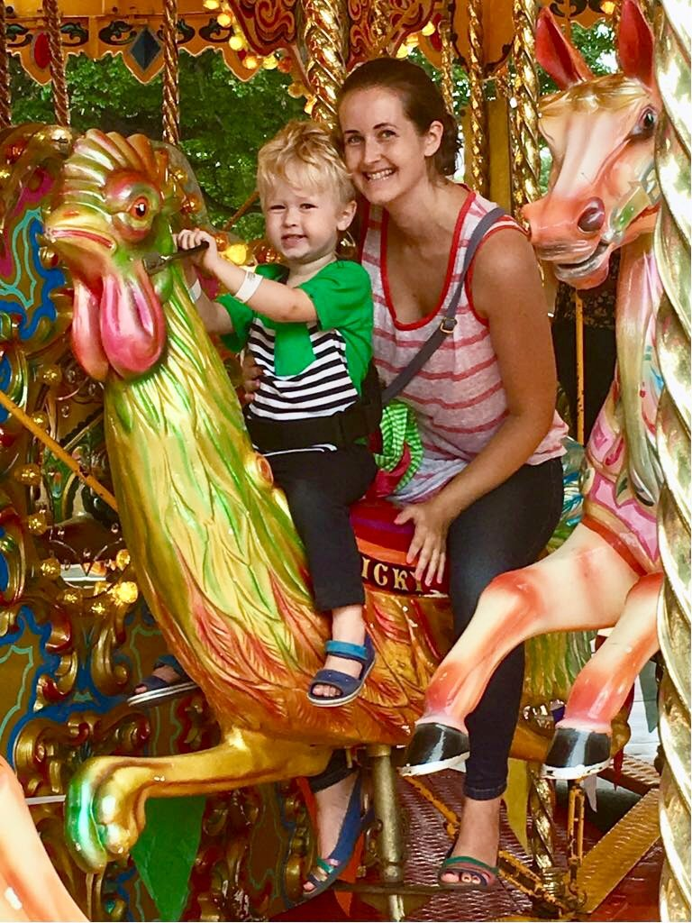 CBBC Summer Social review Me and Lucas sat on the merry go round