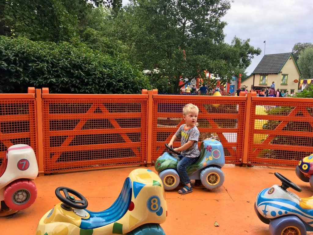 CBeebies Land, Alton Towers review. Lucas sat on the numtums ride