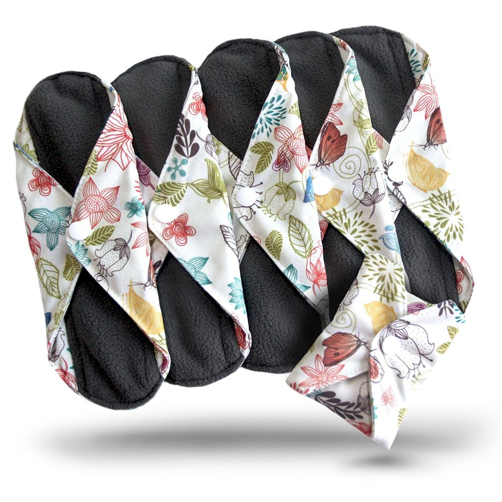 reduce waste, use less plastic, reusable sanitary pads in a flowery design
