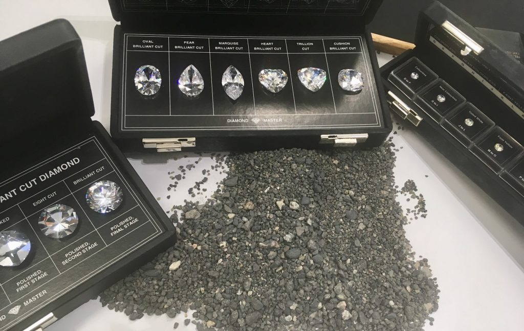 Peter Jackson Jewellers discount code. Small black stones that we mined through and surrounded are false diamonds showing the different shapes and sizes