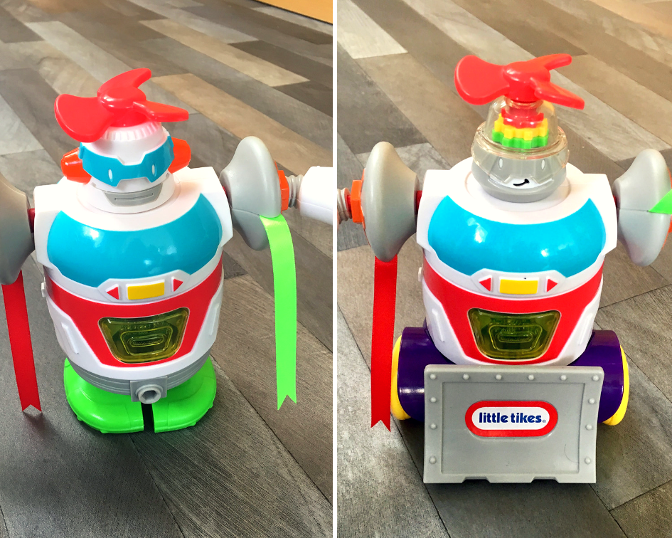 Little Tikes STEM Jr review A collage of two pictures showing different heads on robot and one with wheels, one legs